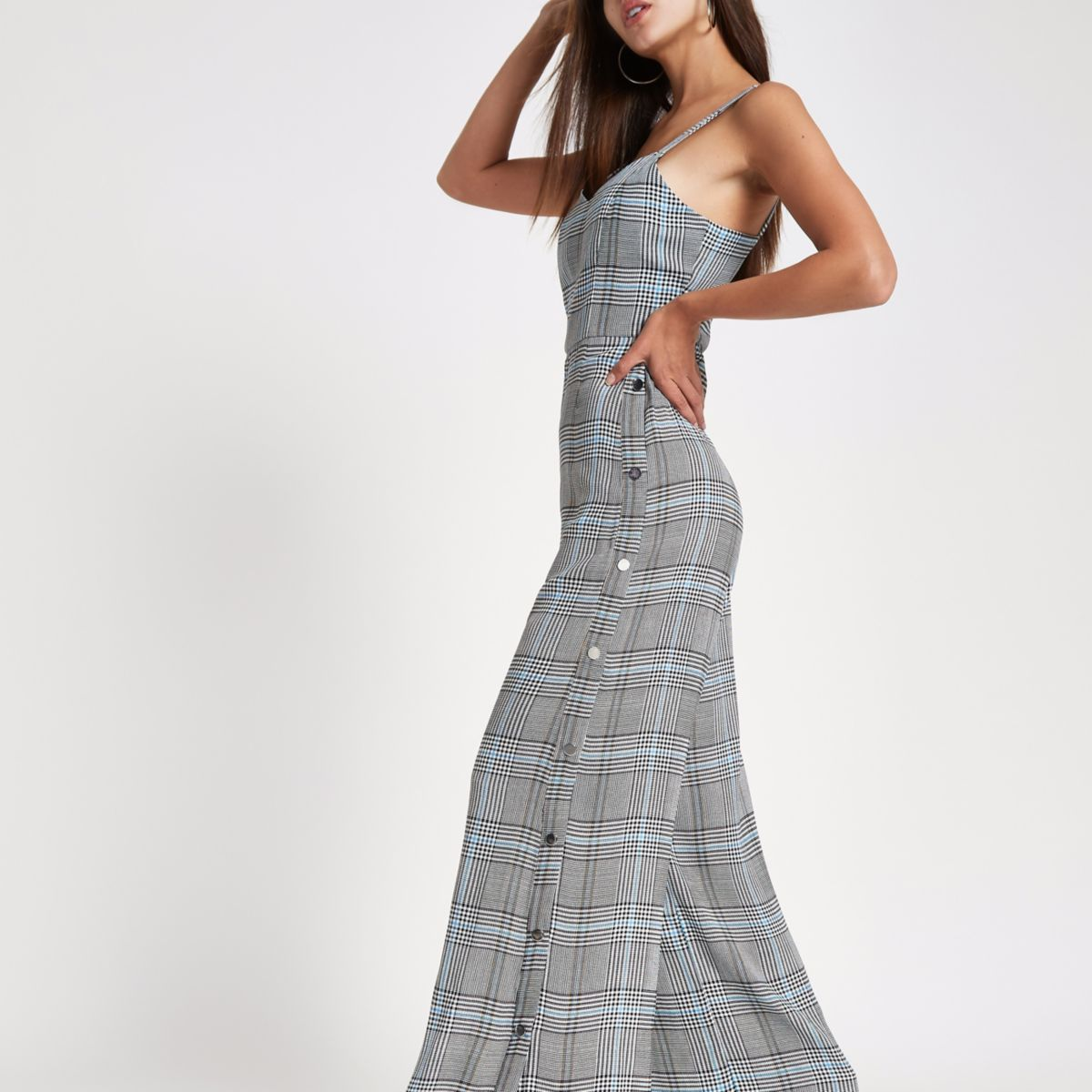 Grey check wide leg popper side jumpsuit