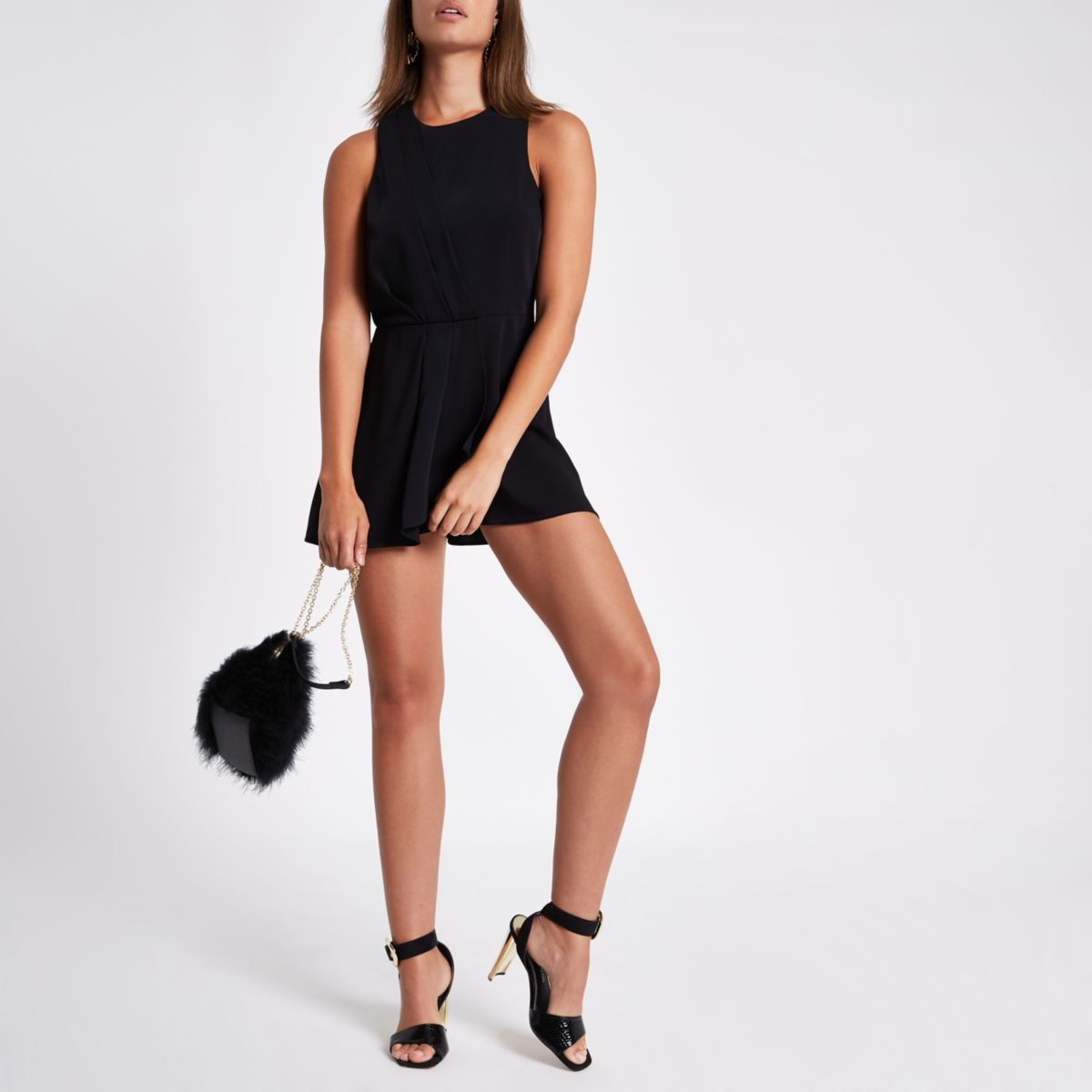 Black knot front skort playsuit