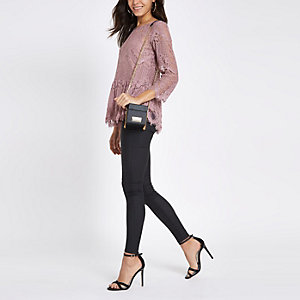 Pink lace peplum hem long sleeve top