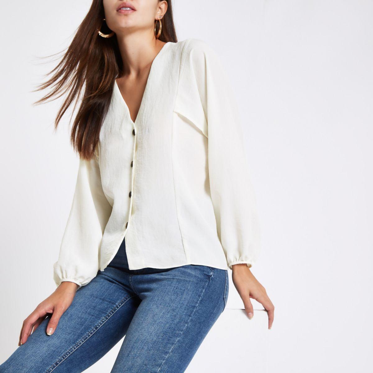 Cream button up v neck blouse