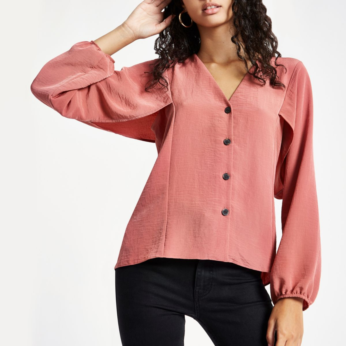 Pink button up v neck blouse