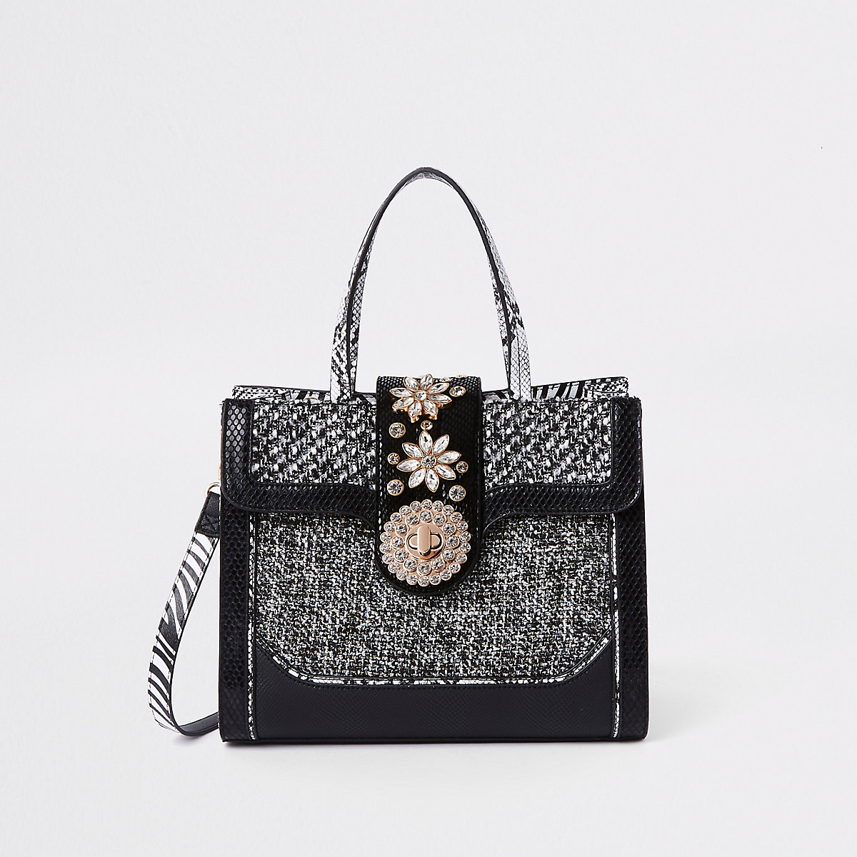 Black mixed textured lock front tote bag