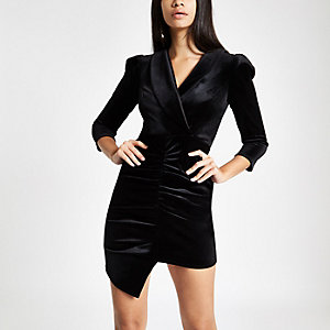 Black velvet ruched front bodycon dress
