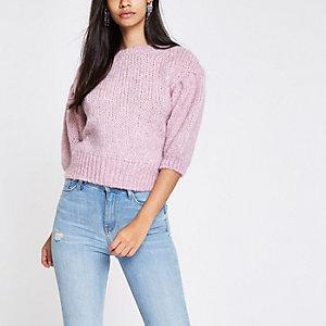 Pinker, kurzer Pullover