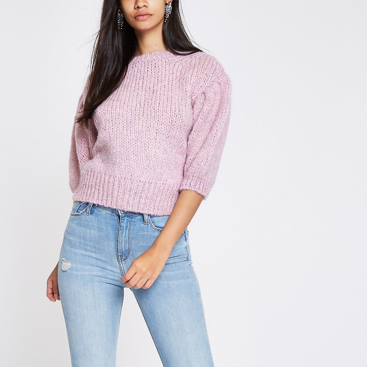 Pink knit cropped sweater
