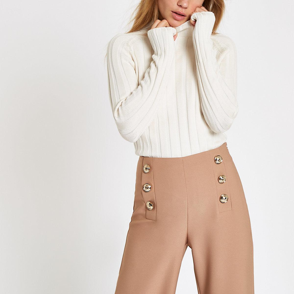 Cream knit roll neck jumper - Knit Tops - Knitwear - women