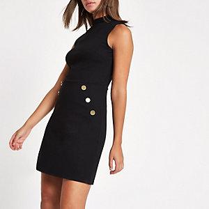 Black ponte button side mini dress