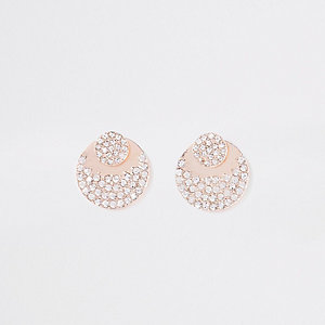 Gold tone rhinestone front and back earrings