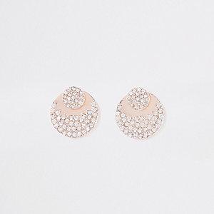 Goudkleurige dubbele diamanté oorbellen