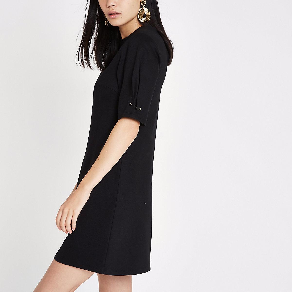 Black ponte swing dress