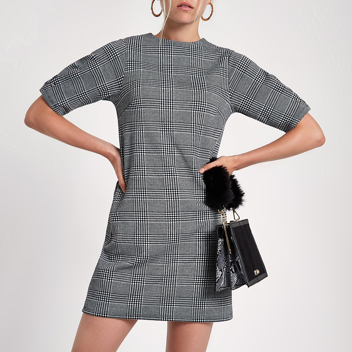 Black check ponte swing dress