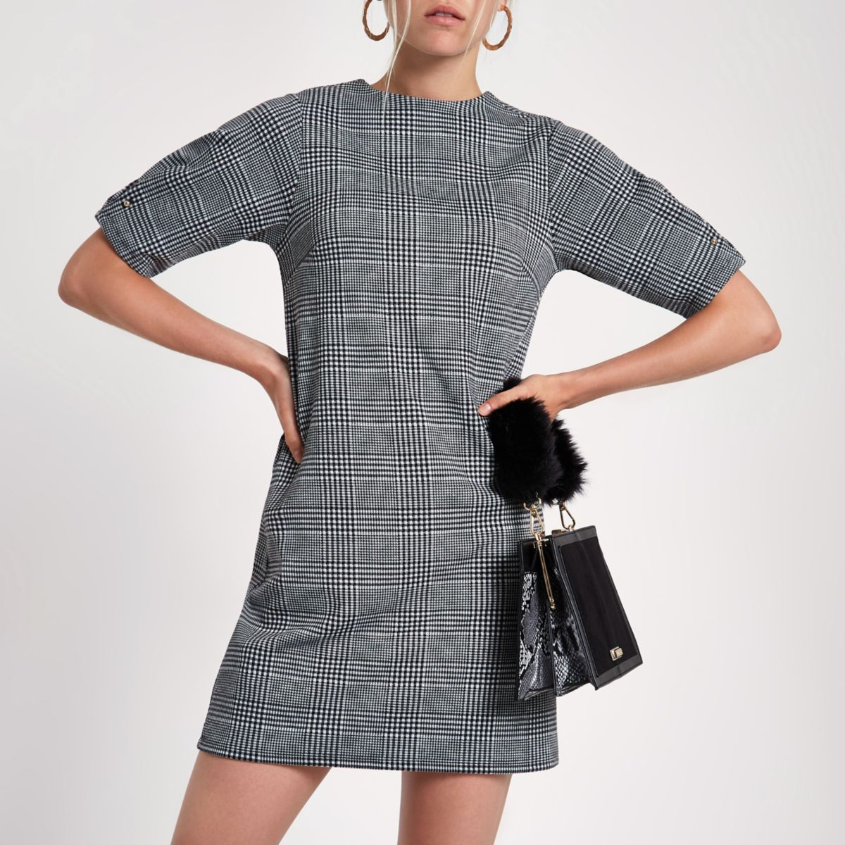 Black check ponte swing dress