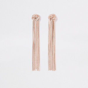 Rose gold tone slinky knot drop earrings