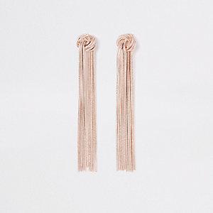 Roségoudkleurige oorhangers met knoop