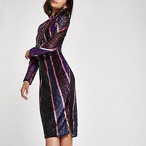 Bodycon-Kleid in Helllila mit Paillettenverzierung