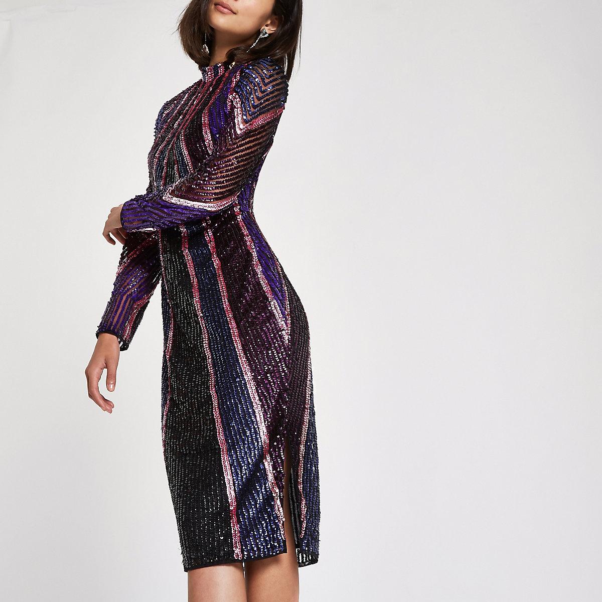 Bright purple sequin high neck bodycon dress