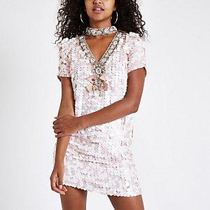 Pinkes Swing-Kleid mit Paillettenverzierung