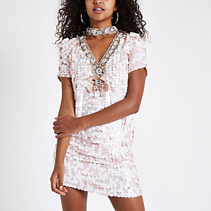 Pink sequin choker neck swing dress