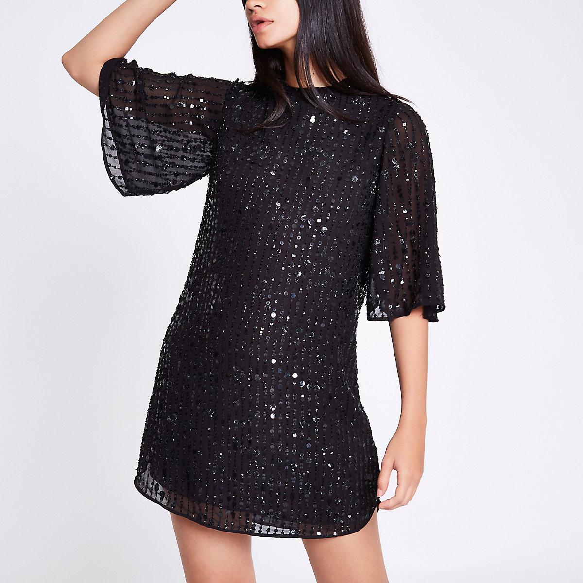 Black sequin swing dress