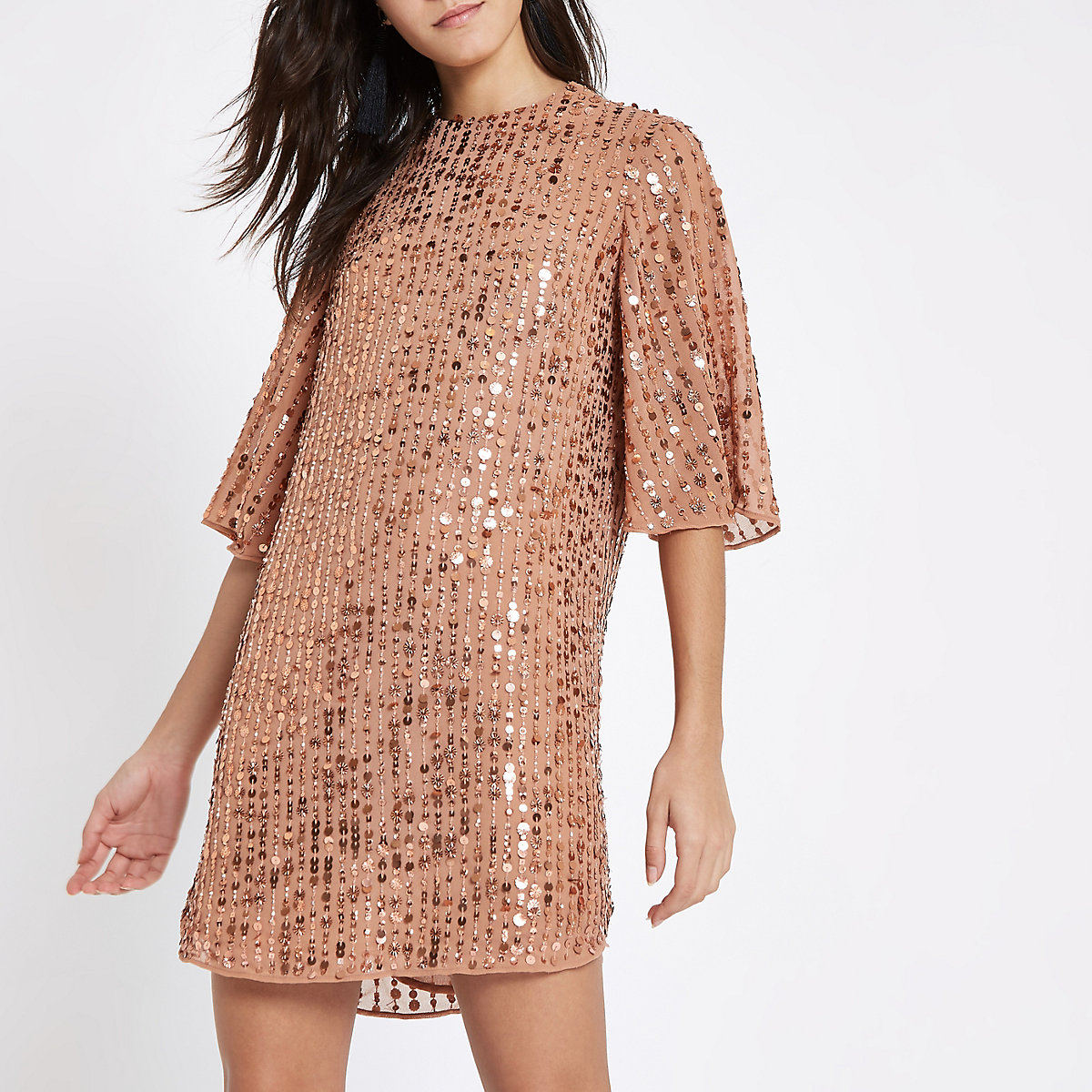 Dark pink sequin swing dress