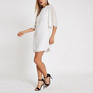 Weißes, paillettenverziertes Swing-Kleid