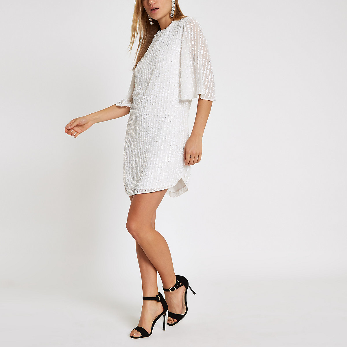 White sequin swing dress