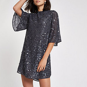 Dunkelgraues, paillettenverziertes Swing-Kleid