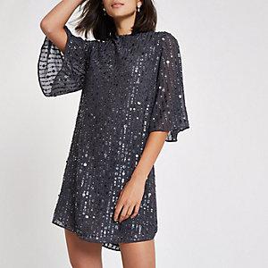 Dark grey sequin swing dress