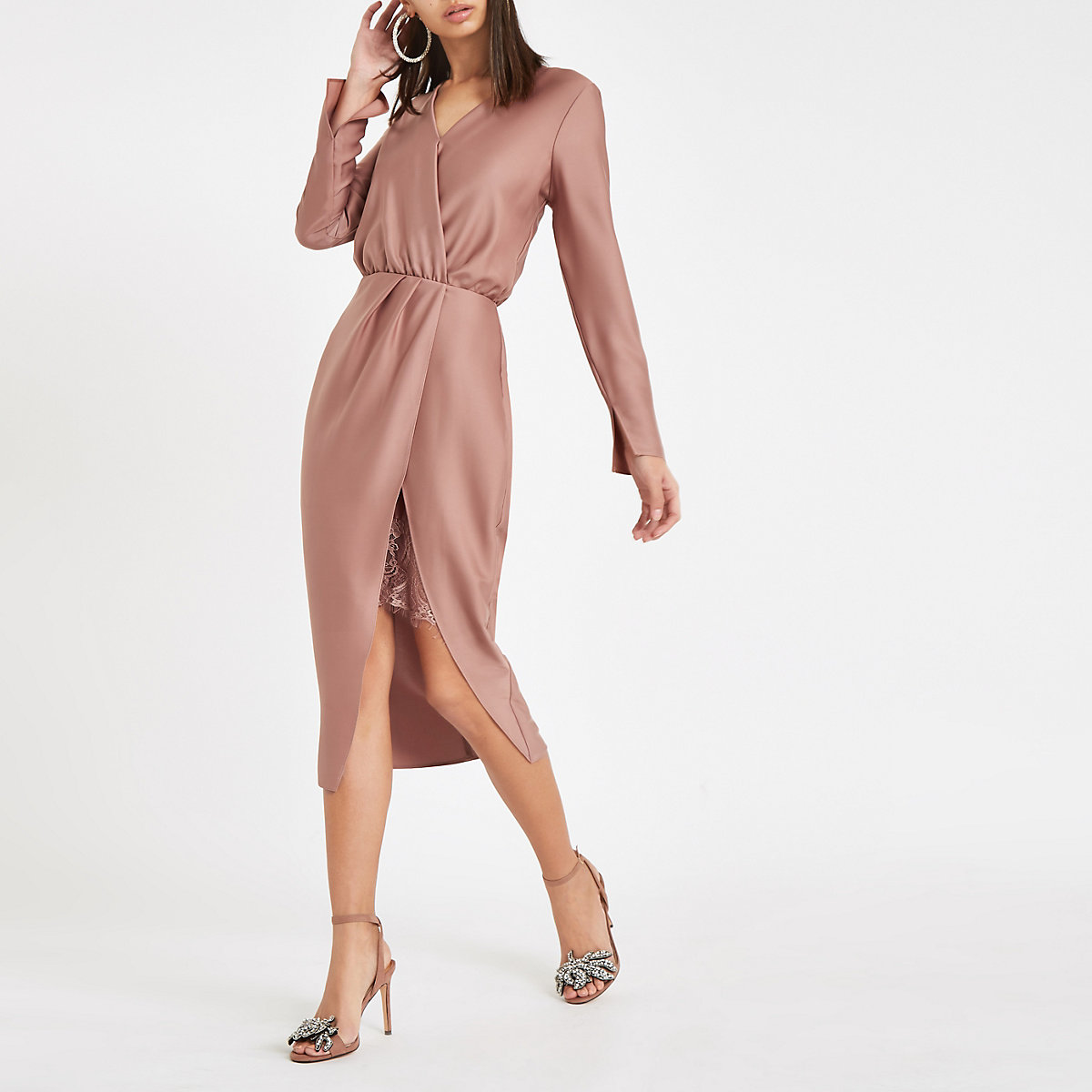Pink wrap front long sleeve midi dress