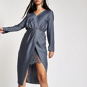Blue wrap front waisted midi dress