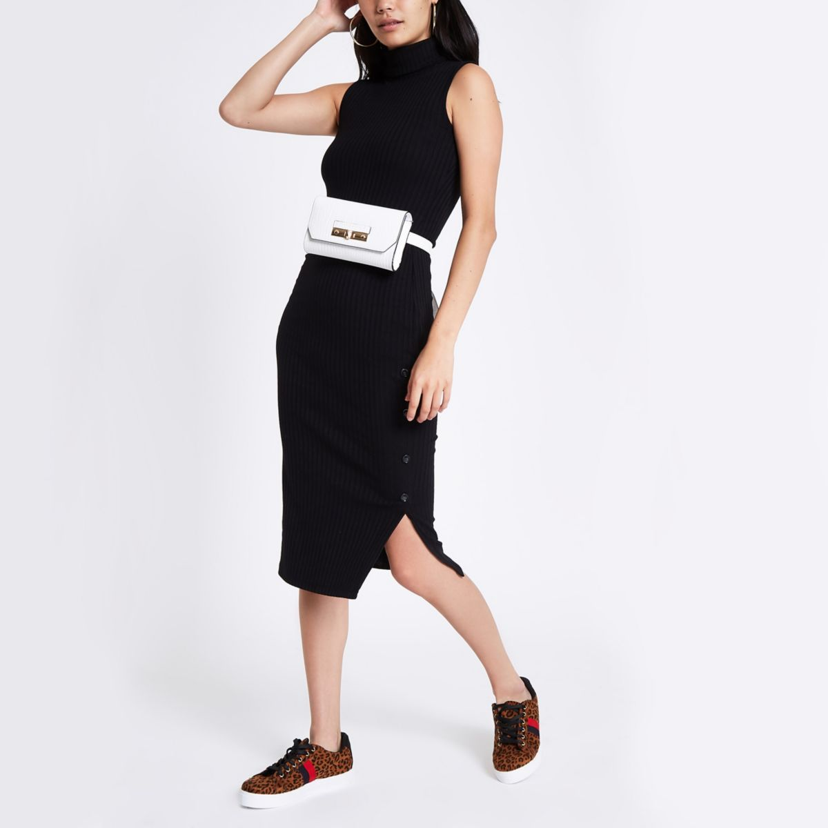 Black ribbed jersey roll neck bodycon dress