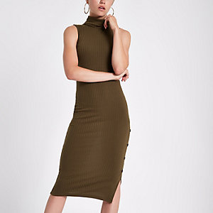 Khaki ribbed jersey roll neck bodycon dress
