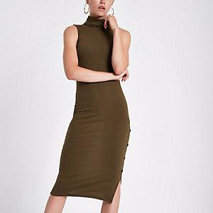 Bodycon-Kleid in Khaki mit Rollkragen