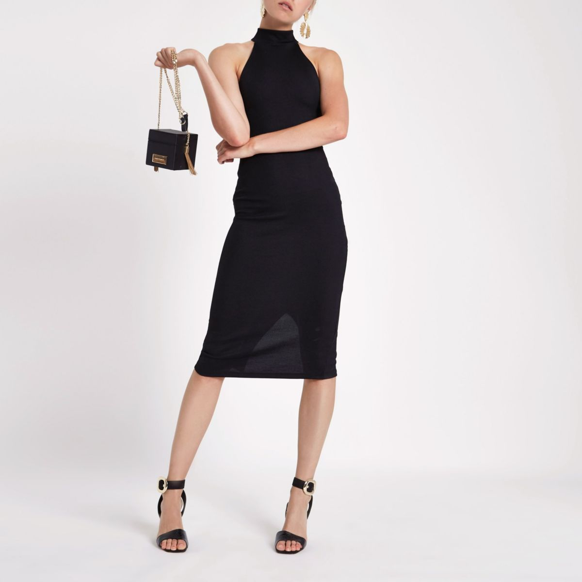 Black halter neck cutaway midi bodycon dress