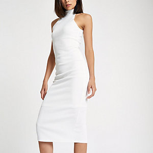 White halter neck cutaway midi bodycon dress