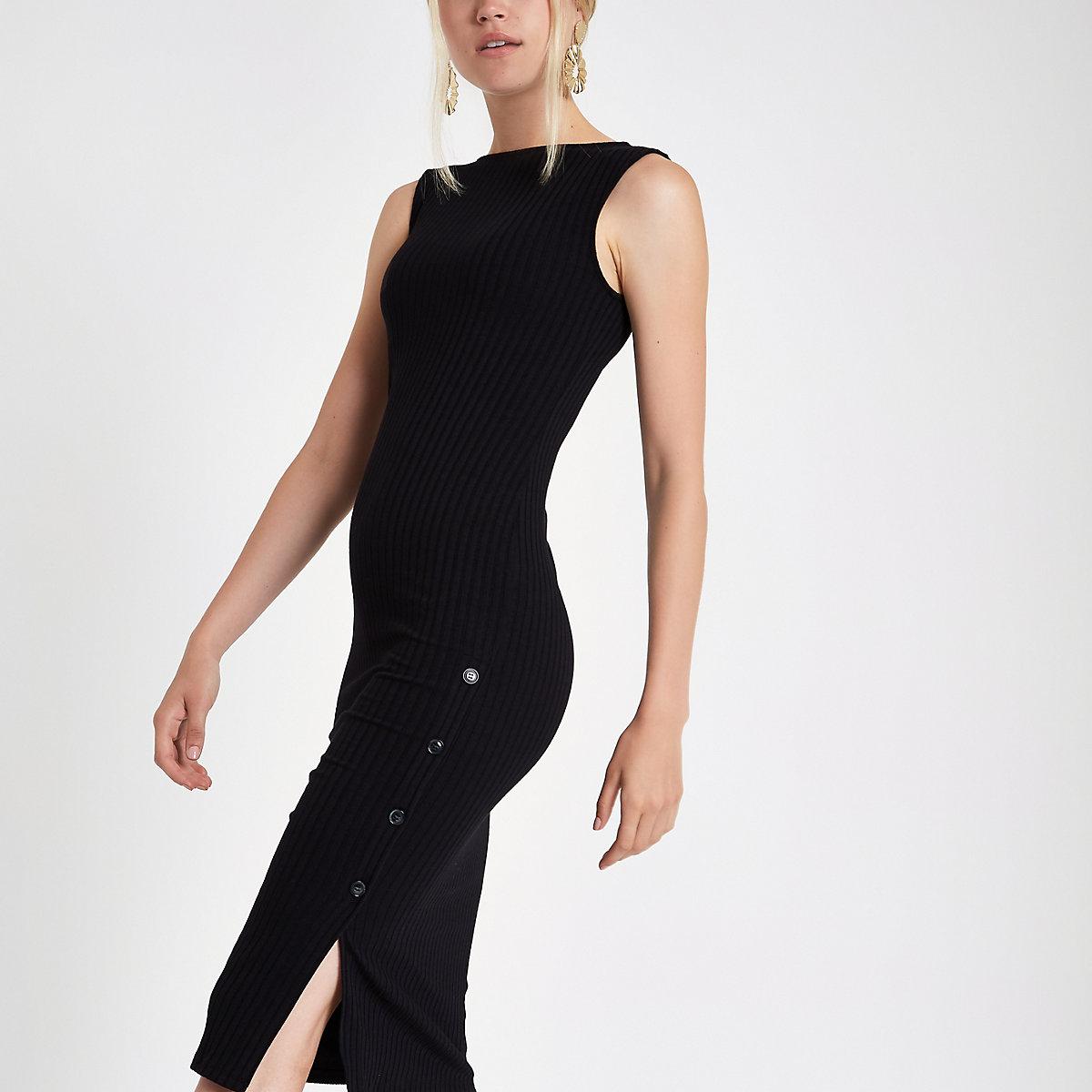 Black rib button side midi bodycon dress