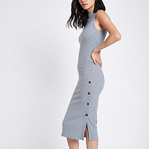 Grey rib button side midi bodycon dress