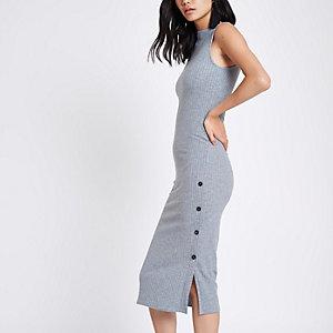 Grey rib button side midi bodycon dress