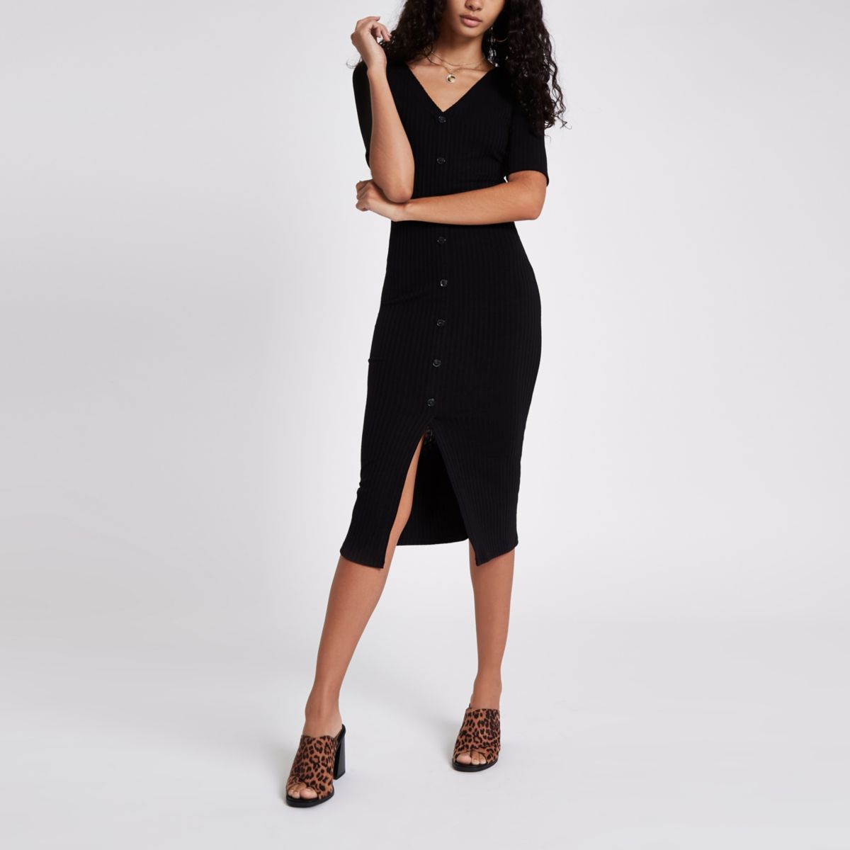 Black rib button midi bodycon dress