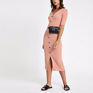 Pink button short sleeve midi bodycon dress