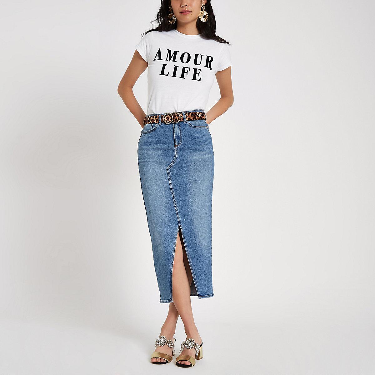 White 'amour life' flock print T-shirt