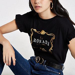 Black 'La Monada' frill sleeve T-shirt
