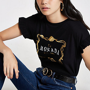 T-shirt «la monada» noir à manches à volants