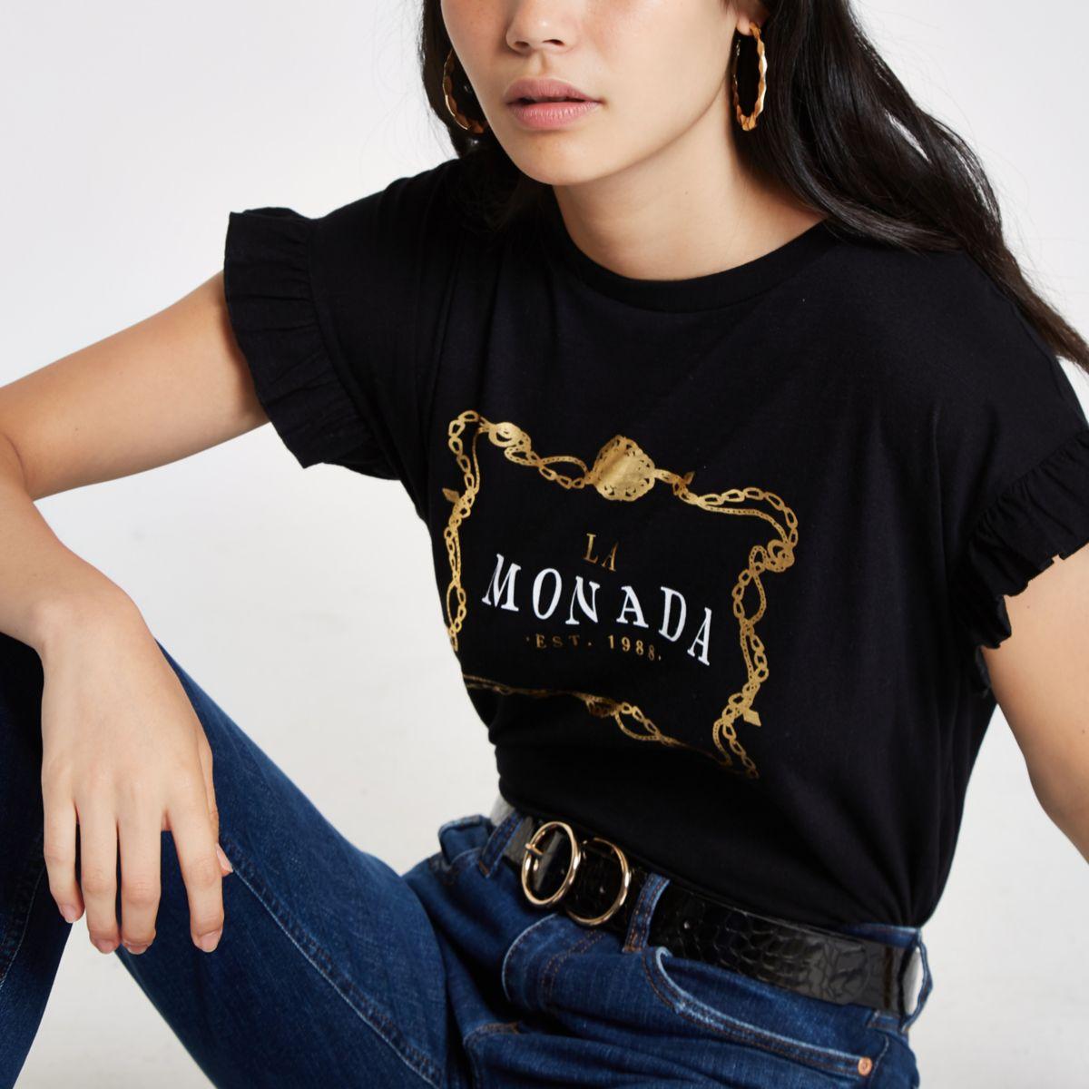 Zwart T-shirt met ruches aan de mouwen en 'la monada'-print