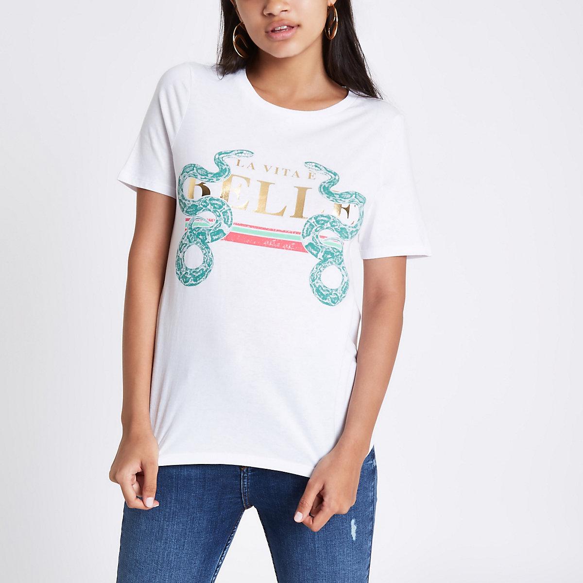 White 'belle' snake print T-shirt