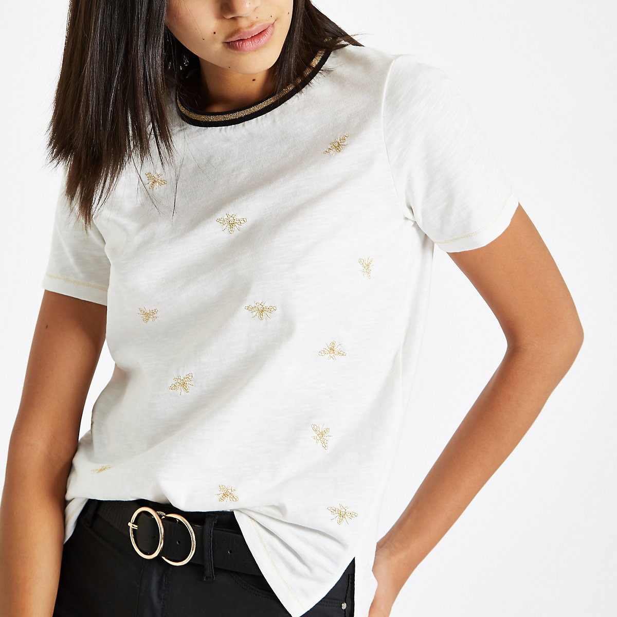 White bee embroidered T-shirt