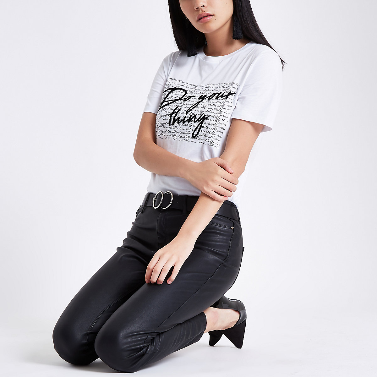 White 'do your thing' print T-shirt