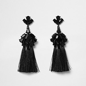 Black jewel tassel drop earrings