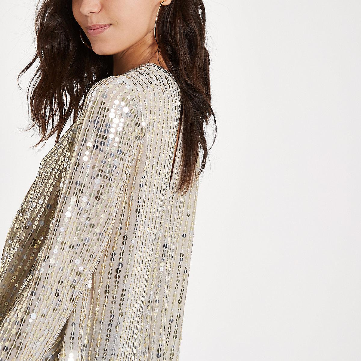 Gold sequin tuck front long sleeve top - Blouses - Tops - women