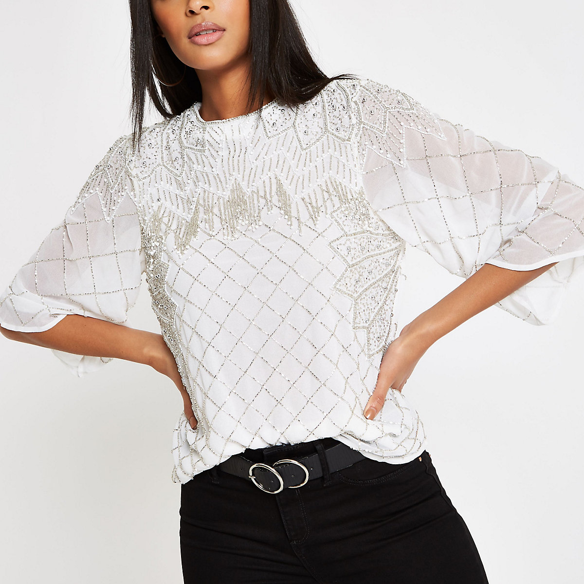 White bead embellished top